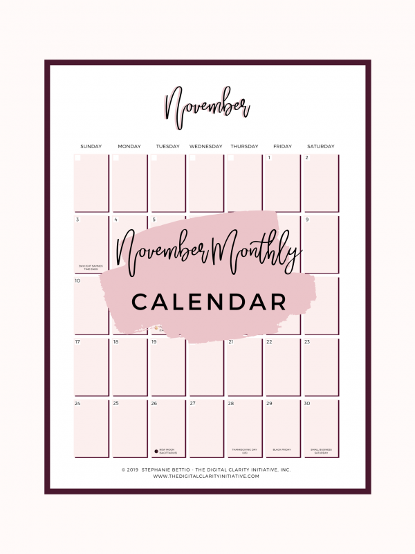 November Printable Planner Monthly View